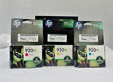 HP 920XL Magenta, Yellow and Cyan Ink Cartidges.