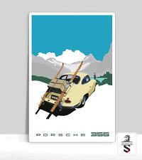 "356 Porsche Vintage Luggage Rack Poster Aluminum poster 36""x 24"""