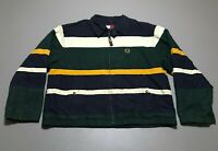 VTG 90s TOMMY HILFIGER Striped Multi-Color Crest Windbreaker Jacket Adult Size L