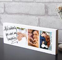 "Large 11x4"" Valentines Day Partner Wife Keepsake Wooden Photo Block Present Gift"