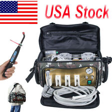 Portable Dental Turbine Unit 4 Hole Air Compressor Suction 3 Way Syringe Bag FDA
