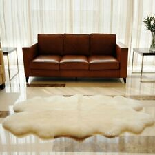 "Windward Natural Sheepskin Plush Area Rug Ivory Color Approx 73""x43"""