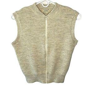 Vintage LL Bean Sweater Vest Zipper High Trek Yarn Oatmeal Mens XL USA 12012