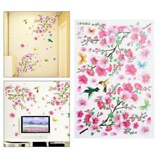 Cherry Peach Blossom Butterfly Removable Wall Murals Vinyl Wall Decals Art Room