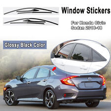 Side Window Frame Trim Sticker Decal For Honda Civic 4-Door 2016 2017 2018