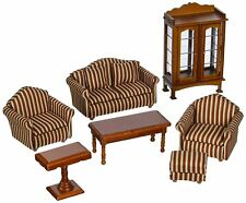 9 Piece Dollhouse Living Room Set Wood Upholstered Miniature Victorian Furniture