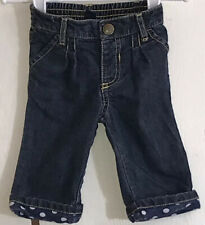 Old Navy Baby Girl's Sz 3-6M Jeans Denim Blue Elastic Waist Folded Cuffs Snap
