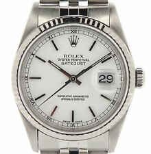 Rolex Datejust Mens Stainless Steel 18K White Gold Jubilee White No Holes 16234