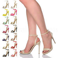 Womens ladies high heel strappy party shoes evening barely there sandals size