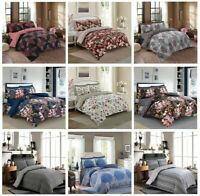 Duvet Cover Bedding Set With Pillowcases & Fitted Sheet Single Double King Size