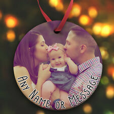 Personalised Flat Ceramic Christmas Bauble Add Your Photo and Any Message Xmas