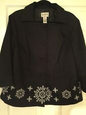 EUC Victor Costa BLACK Occasion Embroidered Pique Jacket Plus Size 1X