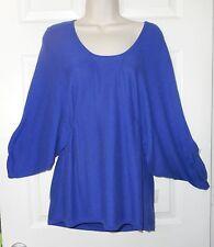 Buffalo Cute&Unusual Tunic Sweater M Scoopneck Dolman slv Royal Blue elas@waist