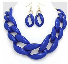 Acrylic Royal Blue Big Curb Link Chain Chunky Statement Necklace Set Earring