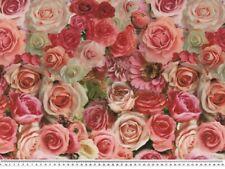 Dekostoff Digitaldruck Rosen Rot-rosa-gelb 140cm