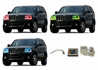 LED Headlight Fog Halo Ring Multi-Color IR Kit for Jeep Grand Cherokee 05-10