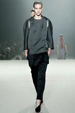 alexander wang front ruffle panel satin trousers zip back runway collection
