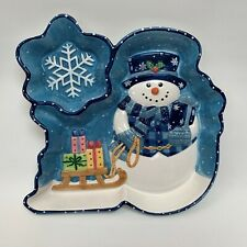 Mercuries Chip & Dip Tray Platter Snowman Christmas Snowflake 14.5 x 13.5""