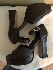Vintage Wild Pair Brown Leather Heels With A Platform Size 5.5