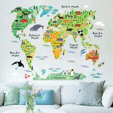 Animal World Map Wall Sticker For Kid's Room Home Decor Colorful Stickers AU