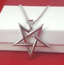 Satanic Inverted Pentagram / Pentacle necklace 316L SS