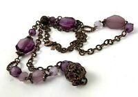 1928 Necklace Purple Bead Copper Color Rhinestone Long faceted