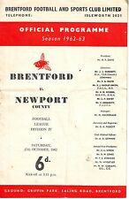 BRENTFORD V NEWPORT COUNTY 27 OCT 1962 54 YEARS AGO!  VGC