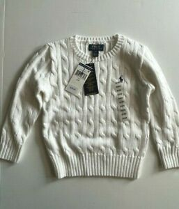 NWT Polo Ralph Lauren Boys Girls Classic Cable Knit Pullover Sweater White sz 3T