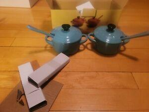 Le Creuset Stoneware Mini Condiment Pots with Spoons Set of 2 Turquoise Blue