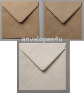 "100x100mm (Under 4x4"") Square Brown Ribbed, Fleck Kraft, White & Ivory Envelopes"