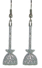 SILVER GLITTER WITCH BROOM HALLOWEEN DANGLE EARRINGS (H063)