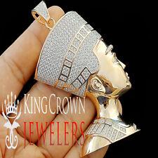 Real Rose Gold Silver Egyptian Queen Pharaoh Nefertiti Lab Diamond Pendant 3.5''