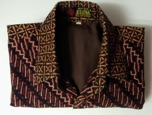 ARINA Mens L Griya Batik Shirt/Jacket Lined Indonesia Pocket New Short Sleeve