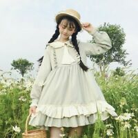 Retro Japanese Lolita Lady Dress Ruffles Peter Pan Collar Puff Sleeves Victorian