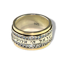 Jewish prayer Shma Israel silver 925 with pure 9K GOLD zircons spinning ring