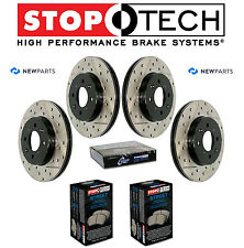 Front & Rear Drill Slott Brake Disc Street Pads KIT StopTech for Audi A3 VW Golf