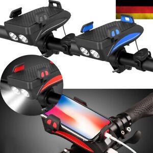 4in1 Fahrrad Licht Scheinwerfer Telefonhalter Fahrradhupe Power Bank Wasserdicht
