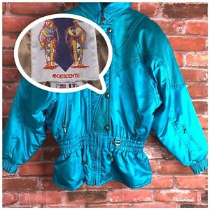 Vintage DESCENTE 80s 90s Turquoise/Teal Ski Snow Puffer Jacket Womans 8 Retro