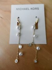 Michael Kors Goldtone Crystal and Imitation Pearl Chain Drop Earrings MSRP $75