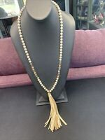 Signed RIAH Crystal stone beaded leather tassel necklace Long Sweater Style 30""