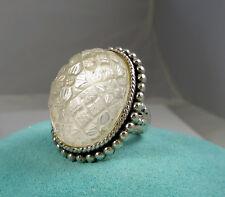 Stunning Huge Stephen Dweck Sterling Silver Carved Quartz Flower 43 Gram Ring