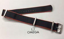 Genuine Omega 20mm Black & Red Polymide NATO Strap, Ref - ZSZ001643, Used