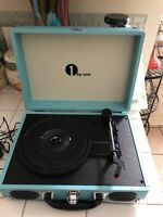 1 By One Vintage Turntable, Portable Suitcase Style, Turquoise - Never opened