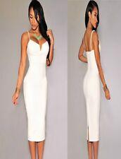 Sz 8 10 White V-Neck Sleeveless Formal Prom Cocktail Party Club Slim Midi Dress