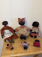 Vintage Black Americana Rag Doll Primitive Folk Art Handmade Cloth Dolls Lot