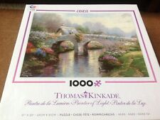 Thomas Kinkade Painter of Light Blossom Bridge 1000 Puzzle-COMPLETE