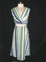 NEW LONDON TIMES Plus Size 14W A-Line Dress Blue Green Stripes Sleeveless Midi