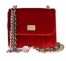 NWT $1400 DOLCE & GABBANA Red Velvet Mini MISS SICILY Shoulder Clutch Bag Purse
