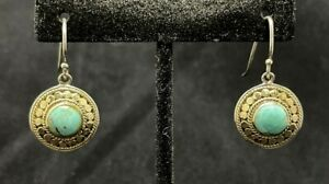 ANNA BECK Turquoise & 18K Gold Plated Over Sterling Silver Drop Earrings EUC