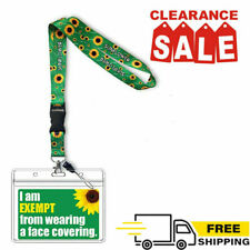 Face Covering Mask Exemption PVC Card Hidden Disabilities with Sunflower Lanyard